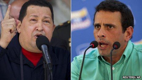 Hugo Chavez (left) and Henrique Capriles (right)