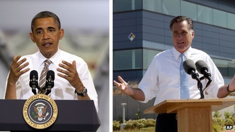 Combination picture of US President Barack Obama and Republican presidential nominee Mitt Romney