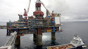 Norwegian gas platform in the North Sea