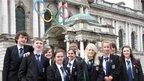 School Reporters outside Belfast City Hall