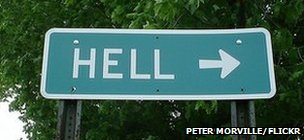 Sign for the town Hell in Michigan, US