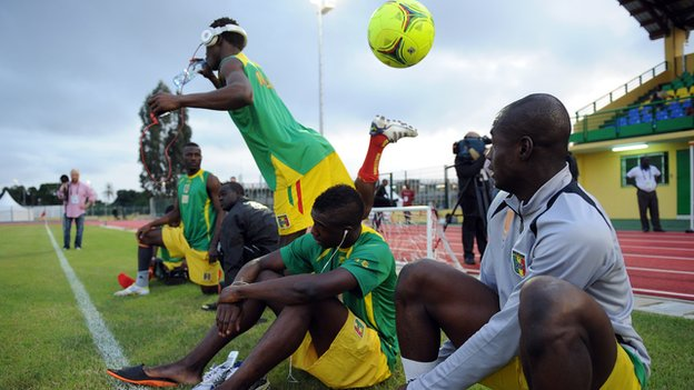 Mali's footballers at training
