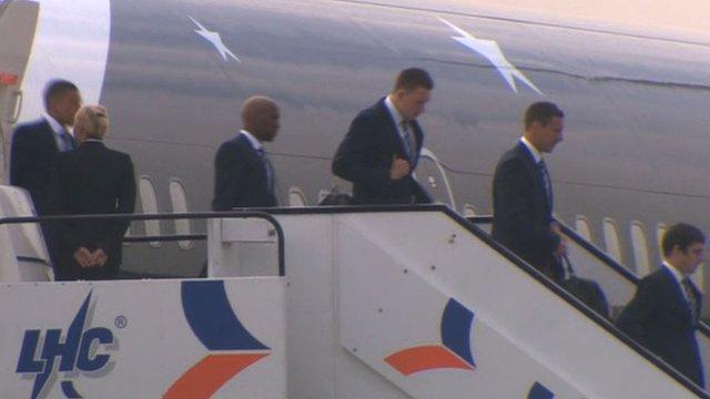 England players arrive in Krakow