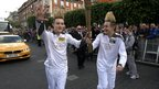 Jedward with the torch in Dublin