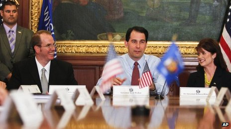 Wisconsin Governor Scott Walker holds his first cabinet meeting after winning the recall election, Madison, Wisconsin 6 June 2012