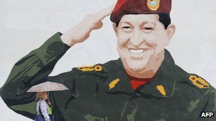 Hugo Chavez wall painting in Caracas