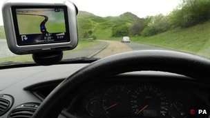Sat-nav inside a car