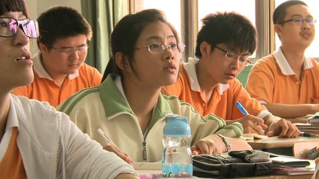 Chinese students studying for the Gaokao exam