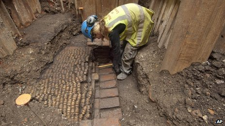 Excavation work at the site of The Curtain Theatre in London