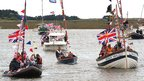 Boats at Wells-next-the-Sea flotilla in Norfolk for the Queen&#039;s Jubilee