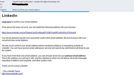 LinkedIn scam email screenshot