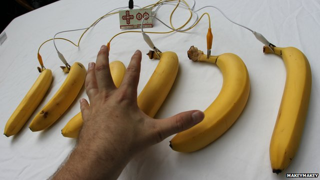 Bananas linked up to MakeyMakey sound board