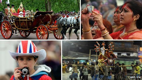 Composite images of Hindu/Jubilee celebrations