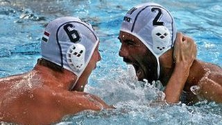  Hungarians water polo players Attila Vari and Tamas Varga celebrate their victory against Serbia and Montenegro during the Olympic Games
