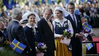 Sweden's King Carl XVI Gustaf, Queen Silvia, Speaker of Parliament Per Westerberg, Crown Princess Victoria and Prince Daniel arrive at Skansen Museum to celebrate Sweden's national day in Stockholm, 6 June.