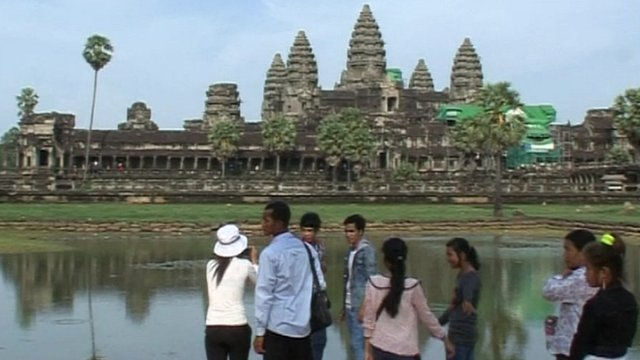 Tourists at Angkor Wat in Cambodia