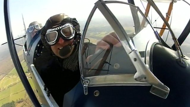 Jon Cuthill in an aeroplane