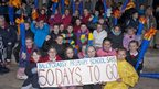 Children from Ballycraigy Primary School, Northern Ireland countdown to the Olympic opening ceremony in 50 days' time