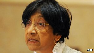 Navi Pillay, chief of the United Nations (UN) High Commissioner for Human Rights speaks during a press conference in Islamabad