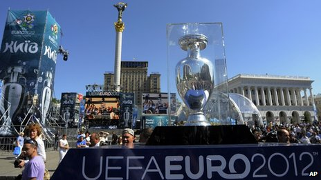 The European Championship trophy in Kiev