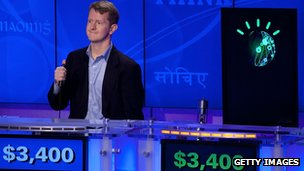 Contestant Ken Jennings competes against IBM Watson at a press conference