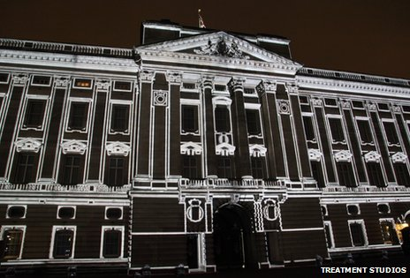 Images projected onto Buckingham Palace