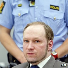 Anders Behring Breivik in court in Oslo, 6  June 12