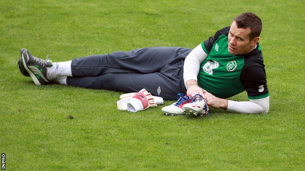 Shay Given sat out part of Thursday's training session at the Municipal Stadium in Gdynia
