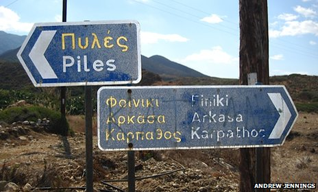Sign-post including the name 'Piles'