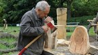 David Nash at work in his wood quarry, Kew gardens