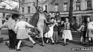 Sister Rosetta Tharpe with children in Tiger Bay, now Cardiff Bay in 1957