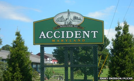 Sign of the town Accident in Maryland, US