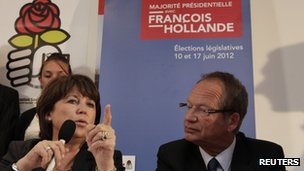 Head of France's Socialist party Martine Aubry sits next to the Socialist candidate for Henin-Beaumont, Phlippe Kemel