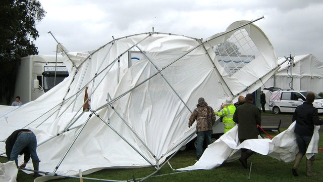 Marquee down at Suffolk showground
