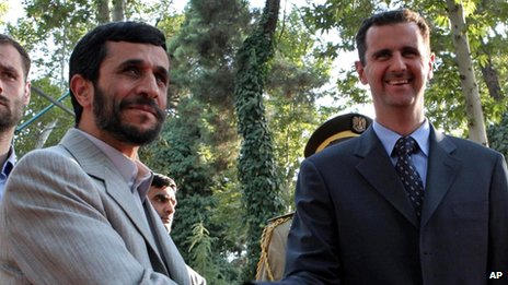 Mahmood Ahmadinejad and Bashar al Assad