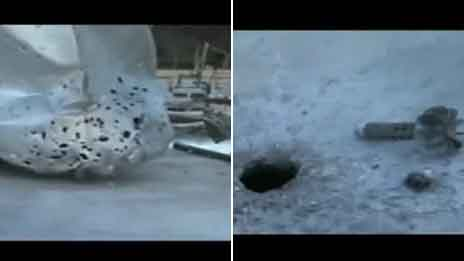 Video grabs of damaged water tanks