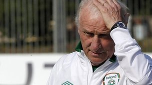 And he thinks he has problems? Ireland coach Giovanni Trapattoni at a training session in Postoia