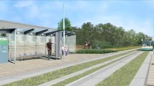Guided busway artist&#039;s impression