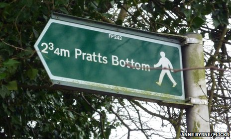 Sign of the town Pratts Bottom