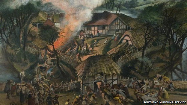 An artist&#039;s impression of an attack on Southchurch Hall during the Peasants&#039; Revolt, 1381