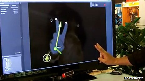 SoftKinetic gesture control device (at the bottom of the image)