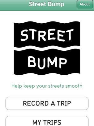Screenshot of Street Bump app