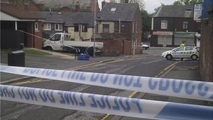 The scene in Queen&#039;s Street, Farnworth