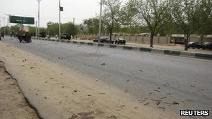 "The road leading to the entrance of the police headquarters in Nigeria""s northeastern city of Maiduguri"