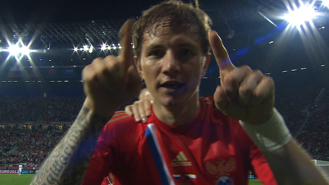 Roman Pavlyuchenko celebrates Russia&#039;s fourth