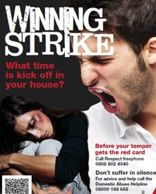 Derbyshire Constabulary&#039;s poster warning of domestic violence