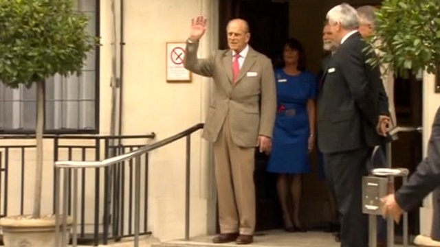 Duke of Edinburgh leaving hospital