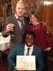 Jo Bryant with Ade Adepitan and Iwan Thomas