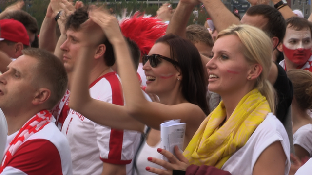 Poland fans watch their team at Warsaw&#039;s fan zone