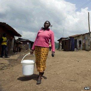 Kenyan woman collecting water